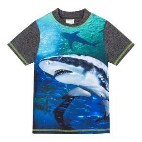 Bluezoo Boys' Shark Print Rash Vest