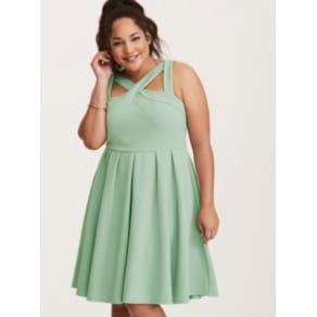 Textured Knit Cross Front Skater Dress in Green