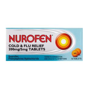 Nurofen Cold & Flu Relief 200mg/5mg - 16 Tablets