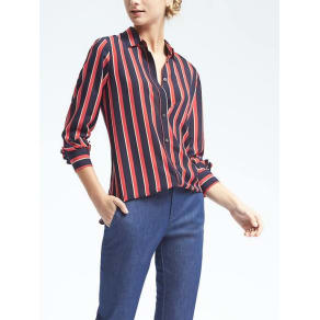 Easy Care Dillon Fit Stripe Ruffle Cuff Shirt Women