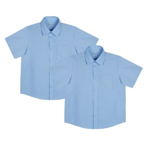 Debenhams Pack of Two Boys' Blue Generous Fit Short Sleeved School Shirts
