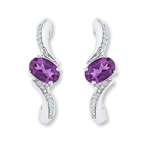 Amethyst Earrings 1/20 Ct Tw Diamonds 10k White Gold