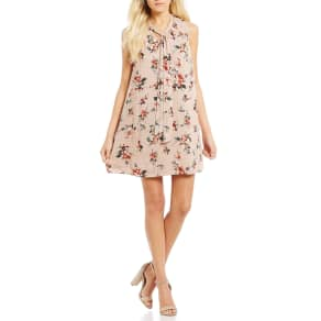 Blu Pepper Floral Printed Tie Neck Tank Dress