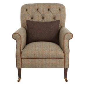 Tetrad Harris Tweed Flynn Armchair, Bracken Herringbone With Brompton Leather Trim