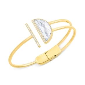 Swarovski Gold-Tone Crystal Hinged Bangle Bracelet