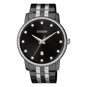 Citizen Quartz Men's Two Tone Black Ion Plated Watch