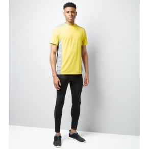 Yellow Panelled Short Sleeve Sports T-Shirt New Look