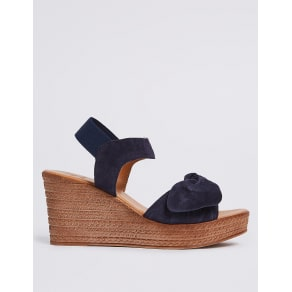 M&S Collection Suede Wedge Heel Bow Espadrilles