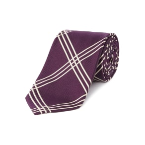 Chester Barrie Silk Tie - Woven Treble Check, Red