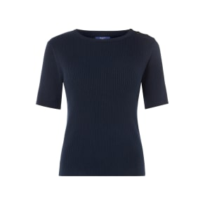 Gant Ribbed Short Sleeve Jumper With Button Detail, Blue