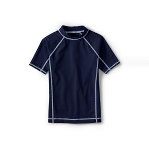 Lands' End - Dark Blue Boys' Short Sleeve Rash Guard Top
