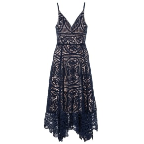Quiz Quiz Navy And Nude Crochet V Neck Dip Hem Dress, Blue Marl