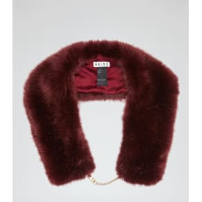 Reiss Pixie - Faux-Fur Stole in Burgundy