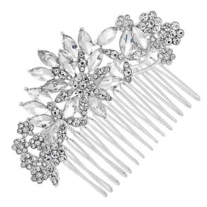 Mood Silver Crystal Leaf Hair Comb