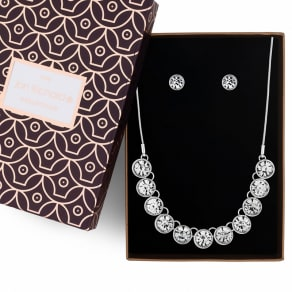Jon Richard Silver Crystal Necklace and Earrings Set