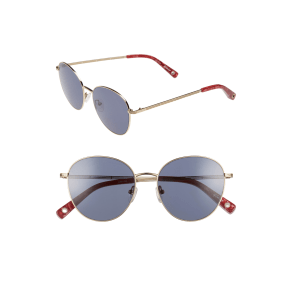 Women's Elizabeth and James Gilmour 53mm Round Sunglasses & Beaded Chain - Gold/ Blue Mono