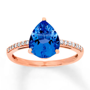 Jared Lab-Created Sapphire Ring 1/10 Ct Tw Diamonds 10k Rose Gold- Fashion