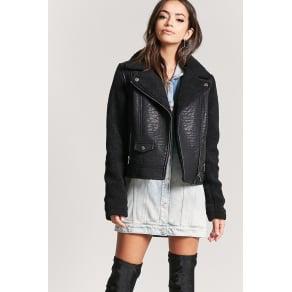 Fleece-Lined Moto Jacket