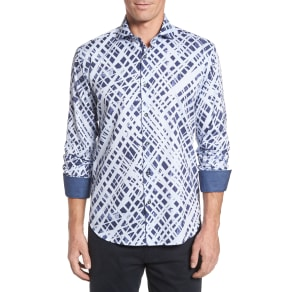 Men's Bugatchi Shaped Fit Abstract Print Sport Shirt, Size Medium - Blue