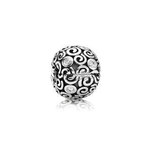 Pandora Abstract Swirl Clip - Sterling Silver / Cubic Zirconia