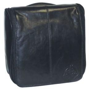 Carson Leather Hanging Travel Kit With Wear-Resistant Nylon Lining and 3 Interior Slip Pockets