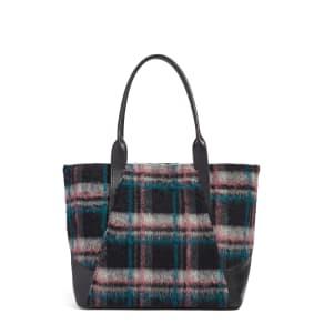 Treasure & Bond Ashton Plaid Wool & Leather Tote - Green