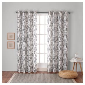 "Branches Linen Blend Grommet Top Window Curtain Panel Pair Indigo (Blue) (54""x108"") - Exclusive Home"