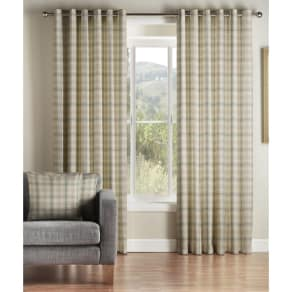 Montgomery Natural 'Kirkwall Check' Lined Eyelet Curtains