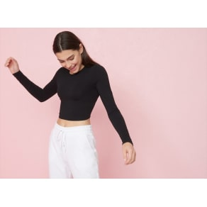 Garage  Long Sleeve Crop Top Black