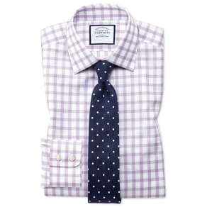 Slim Fit Windowpane Check Purple Cotton Dress Shirt Single Cuff Size 15/34 by