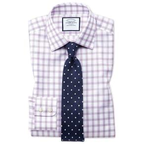 bdb9e1d1 Slim Fit Windowpane Check Purple Cotton Dress Shirt Single Cuff Size 15/34  by