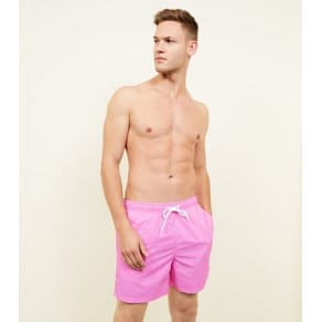 Neon Pink Drawstring Swim Shorts New Look