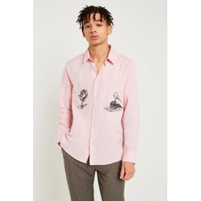 Soulland Marvin Pink Embroidered Long-Sleeve Shirt, Pink
