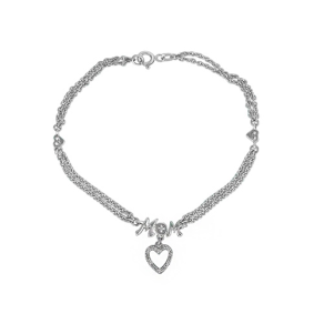 "7"" Heart ""Mom"" Bracelet in Sterling Silver"