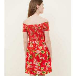 Teens Red Tropical Floral Print Bardot Dress New Look