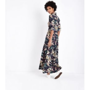 ad4239f2fff Blue Vanilla Navy Floral Maxi Shirt Dress New Look