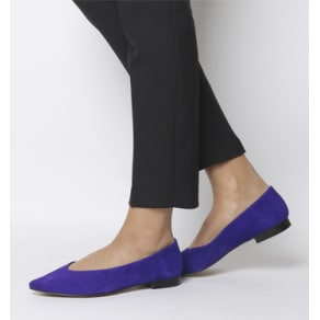 Office Fleur- Pointed Flat Purple Suede