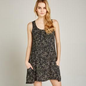 Black Ditsy Mix Swing Dress