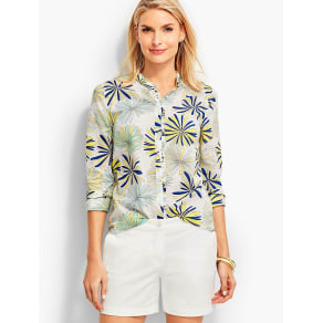 Talbots Women's Looped Petals Ruffled Collar Shirt
