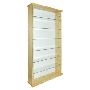 Solid Wood and Glass Display Unit - Pine.