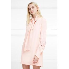 Arimi Crepe Tie Neck Dress - Barley Pink