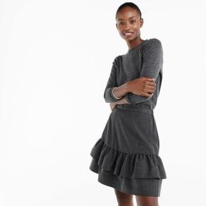Wool Flannel Ruffle Skirt