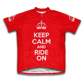 Scudo Keep Calm and Ride On Microfiber Short-Sleeved Cycling Jersey, Red, L, Size: Large