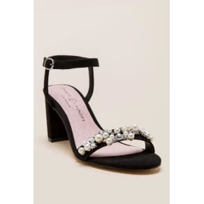 Chinese Laundry Rosetta Pearl Strap Block Heel - Black