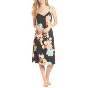 Women's Natori Saipan Nightgown, Size Large - Black