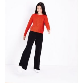 Teens Orange Cable Knit Jumper New Look