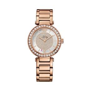 Juicy Couture Ladies Rose Gold Crystal Stones Bracelet Watch 1901152