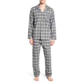 Men's Majestic International Bryson Plaid Pajama Set, Size Small - Black