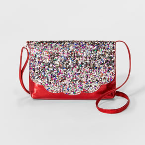 Girls' Glitter Flap Crossbody Bag - Cat & Jack Red, Size: Large
