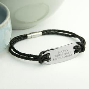 Personalised Men's Statement Leather Bracelet in Black